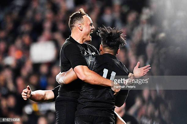 Julian Savea of the All Blacks celebrates after scoring his second try with Israel Dagg of the All Blacks during the Bledisloe Cup Rugby Championship...