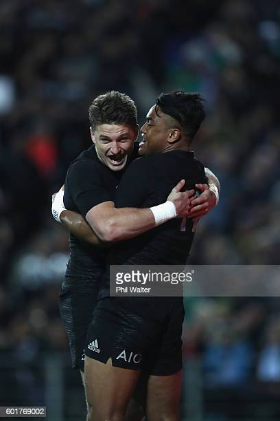 Julian Savea of the All Blacks celebrates his try with Beauden Barrett during the Rugby Championship match between the New Zealand All Blacks and...