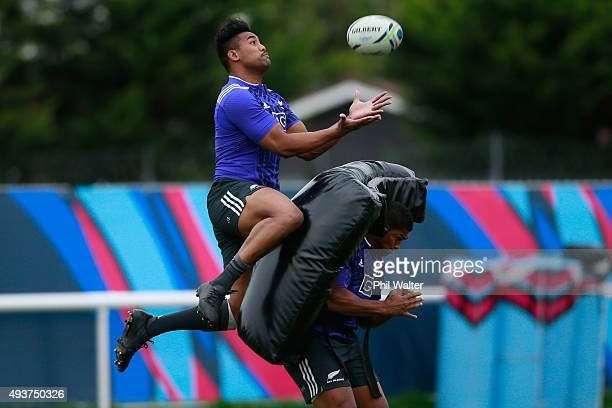 Julian Savea of the All Blacks collects the high ball during a New Zealand All Blacks training session at London Irish on October 22 2015 in London...