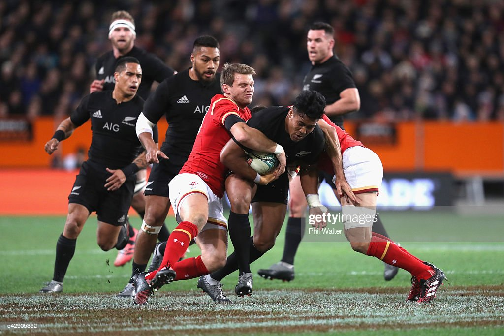 <a gi-track='captionPersonalityLinkClicked' href=/galleries/search?phrase=Julian+Savea&family=editorial&specificpeople=5780264 ng-click='$event.stopPropagation()'>Julian Savea</a> of the All Blacks is tackled during the International Test match between the New Zealand All Blacks and Wales at Forsyth Barr Stadium on June 25, 2016 in Dunedin, New Zealand.