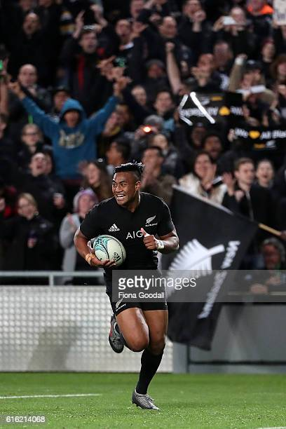 Julian Savea of the All Blacks scores another try during the Bledisloe Cup Rugby Championship match between the New Zealand All Blacks and the...