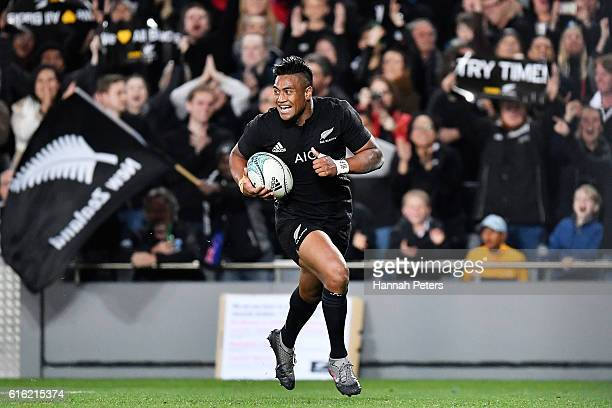 Julian Savea of the All Blacks scores his second try during the Bledisloe Cup Rugby Championship match between the New Zealand All Blacks and the...