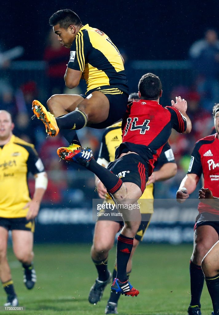 <a gi-track='captionPersonalityLinkClicked' href=/galleries/search?phrase=Julian+Savea&family=editorial&specificpeople=5780264 ng-click='$event.stopPropagation()'>Julian Savea</a> of The Highlanders goes high to take the ball during the round 20 Super Rugby match between the Crusaders and the Hurricanes at AMI Stadium on July 12, 2013 in Christchurch, New Zealand.