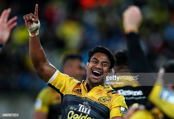 Julian Savea of the Hurricanes celebrates after the 2016 Super Rugby Final match between the Hurricanes and the Lions at Westpac Stadium on August 6...