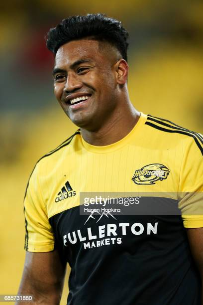 Julian Savea of the Hurricanes enjoys a laugh during the round 13 Super Rugby match between the Hurricanes and the Cheetahs at Westpac Stadium on May...