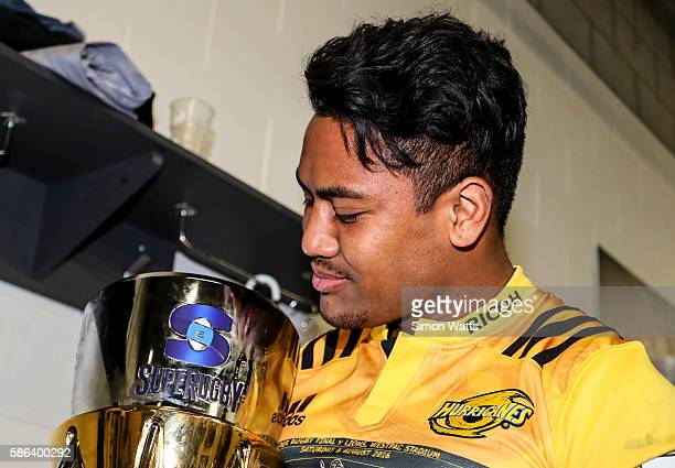 Julian Savea of the Hurricanes holds the Super Rugby Trophy after the 2016 Super Rugby Final match between the Hurricanes and the Lions at Westpac...