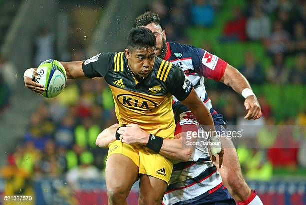Julian Savea of the Hurricanes runs with the ball during the round eight Super Rugby match between the Rebels and the Hurricanes at AAMI Park on...