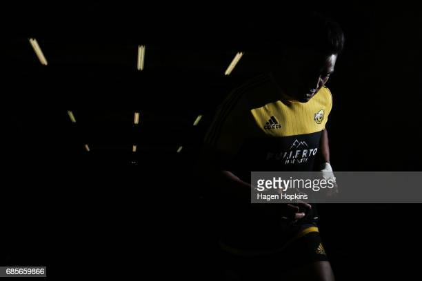 Julian Savea of the Hurricanes takes the field to warm up during the round 13 Super Rugby match between the Hurricanes and the Cheetahs at Westpac...