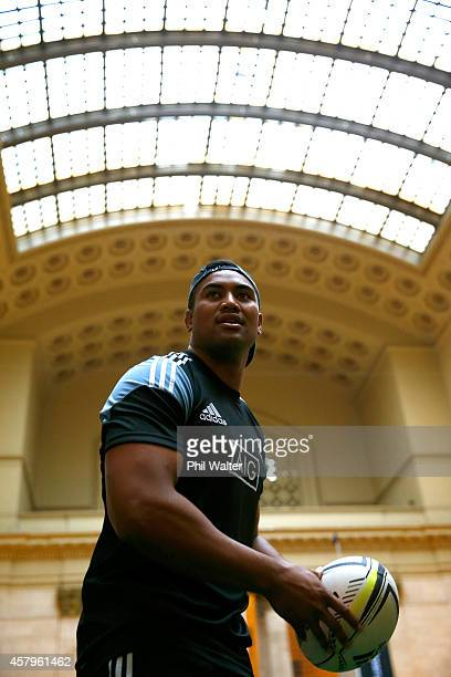 Julian Savea of the New Zealand All Blacks passes a rugby ball during a New Zealand All Blacks community skills session at the Chicago Union Station...