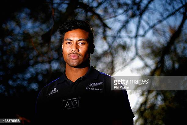 Julian Savea of the New Zealand All Blacks poses for a portrait in Hyde Park following a New Zealand All Blacks media session at the Royal Garden...