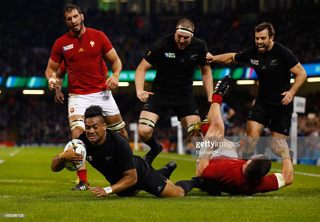 <a gi-track='captionPersonalityLinkClicked' href=/galleries/search?phrase=Julian+Savea&family=editorial&specificpeople=5780264 ng-click='$event.stopPropagation()'>Julian Savea</a> of the New Zealand All Blacks scores his second try, his team's fourth try, during the 2015 Rugby World Cup Quarter Final match between New Zealand and France at the Millennium Stadium on October 17, 2015 in Cardiff, United Kingdom.