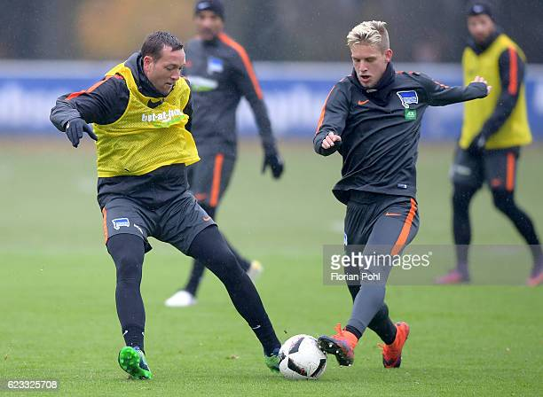 Julian Schieber and Arne Maier of Hertha BSC during the training on november 15 2016 in Berlin Germany