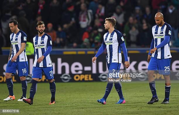 Julian Schieber Marvin Plattenhardt Alexander Esswein and John Anthony Brooks of Hertha BSC leaving pitch after the Bundesliga match between Sport...