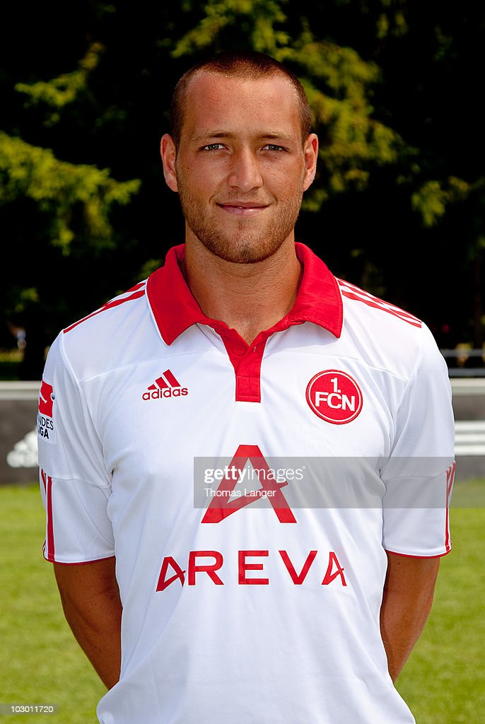 Julian Schieber poses during the 1 FC Nuernberg team presentation on July 19 2010 in Nuremberg Germany