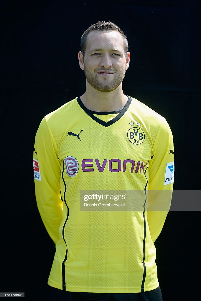 Julian Schieber poses during the Borussia Dortmund Team Presentation at Brackel Training Ground on July 9, 2013 in Dortmund, Germany.