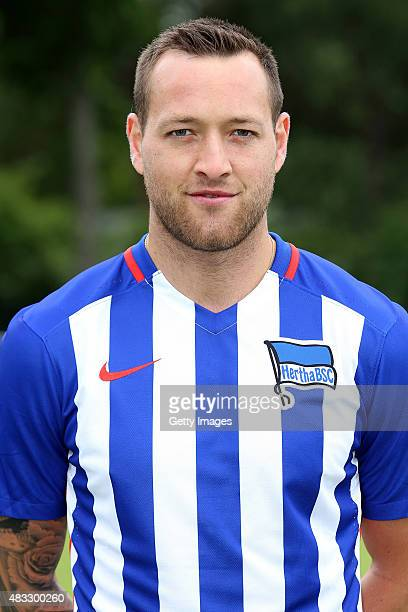 Julian Schieber poses during the Hertha BSC team presentation on July 10 2015 in Berlin Germany