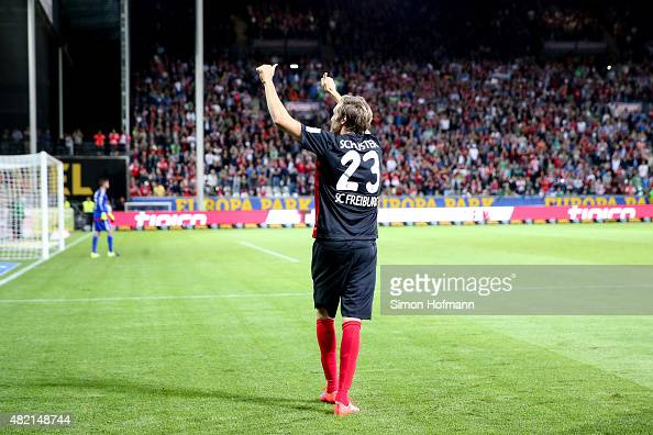 Julian Schuster of Freiburg celebrates his team's sixth goal during the 2 Bundesliga match between SC Freiburg and 1 FC Nuernberg at...