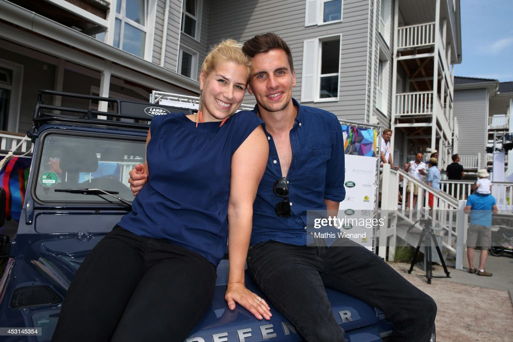 Julian Sengelmann and Maxi Bart Kowiak attend the Land Rover Public Chill 2014 at Beach Motel on August 3, 2014 in St Peter-Ording, Germany.