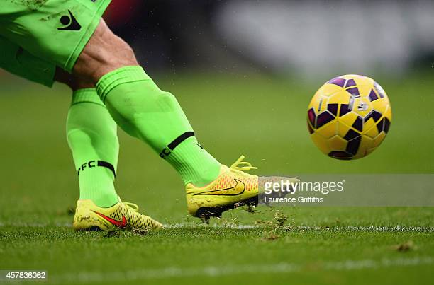 Julian Speroni of Crystal Palace kicks the Nike Ordem HiVis ball during the Barclays Premier League match between West Bromwich Albion and Crystal...