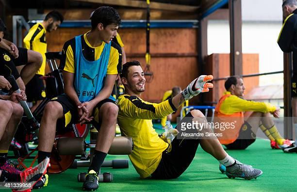 Julian Stenzel and Roman Buerki of Borussia Dortmund in training during a rain pause on July 19 2015 in Bad Ragaz Switzerland