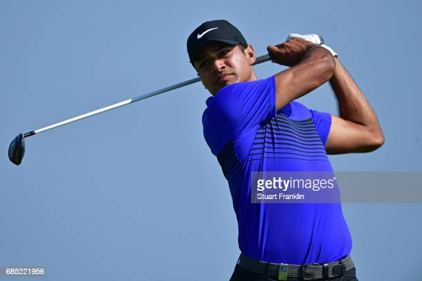 Julian Suri of the United States hits his tee shot on the 16th hole during the second round of The Rocco Forte Open at The Verdura Golf and Spa...