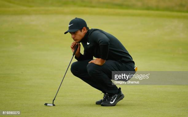 Julian Suri of the United States lines up a putt on the 4th green during the first round of the 146th Open Championship at Royal Birkdale on July 20...