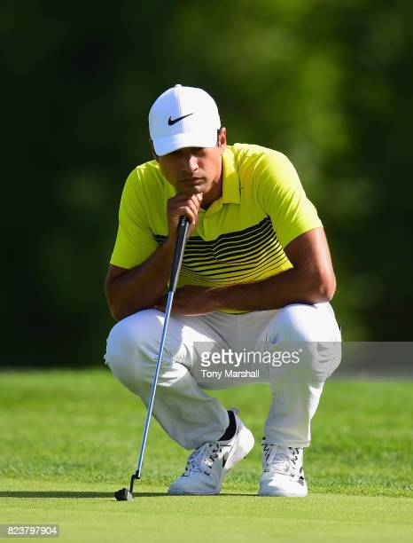 Julian Suri of the United States lines up his putt on the 12th green during the Porsche European Open Day Two at Green Eagle Golf Course on July 28...