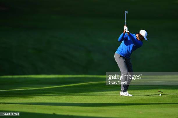 Julian Suri of The United States on the 14th during Day Two of the 2017 Omega European Masters at CranssurSierre Golf Club on September 8 2017 in...