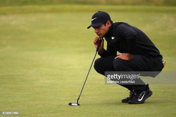 Julian Suri of the United States on the fourth green during the first round of the 146th Open Championship at Royal Birkdale on July 20 2017 in...