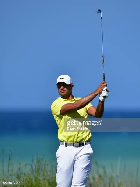 Julian Suri of the United States plays a shot during day three of The Rocco Forte Open at Verdura Golf and Spa Resort on May 20 2017 in Sciacca Italy