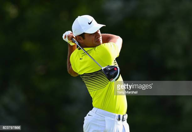 Julian Suri of the United States plays his first shot on the 13th tee during the Porsche European Open Day Two at Green Eagle Golf Course on July 28...