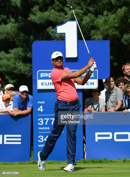 Julian Suri of the United States plays his first shot on the 1st tee during the Porsche European Open Day Four at Green Eagle Golf Course on July 30...