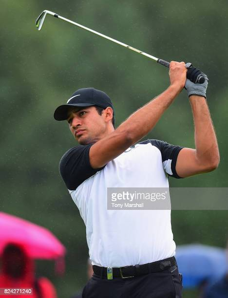 Julian Suri of the United States plays his first shot on the 2nd tee during the Porsche European Open Day Three at Green Eagle Golf Course on July 29...