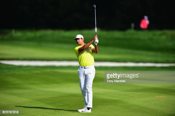Julian Suri of the United States plays his second shot on the 12th fairway during the Porsche European Open Day Two at Green Eagle Golf Course on...
