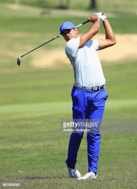 Julian Suri of the United States plays his second shot on the 16th hole during the final round on day four of the Open de Portugal at Morgado Golf...