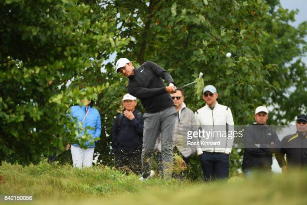 Julian Suri of the United States plays his second shot on the 5th hole from the rough during the final round on day four of the DD REAL Czech Masters...
