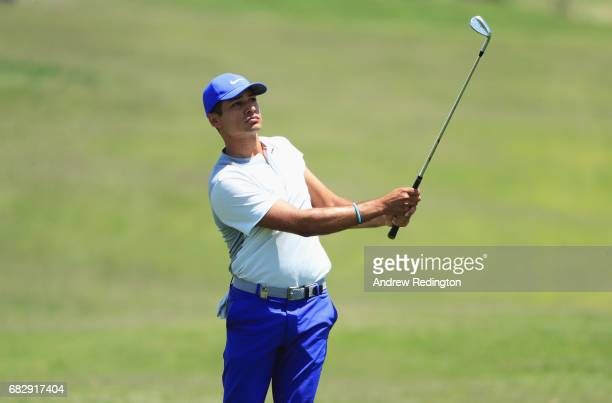 Julian Suri of the United States plays his third shot on the 7th hole during the final round on day four of the Open de Portugal at Morgado Golf...