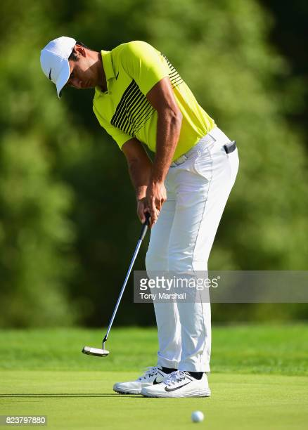 Julian Suri of the United States putts on the 12th green during the Porsche European Open Day Two at Green Eagle Golf Course on July 28 2017 in...