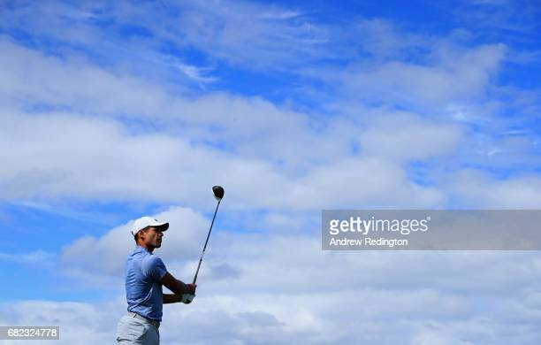 Julian Suri of the United States tees off on the 10th hole during day two of the Open de Portugal at Morgado Golf Resort on May 12 2017 in Portimao...