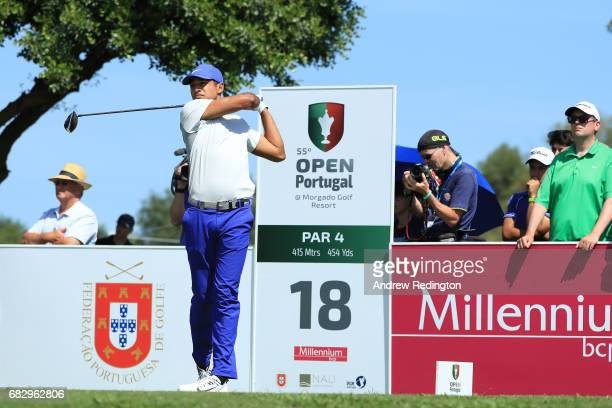 Julian Suri of the United States tees off on the 18th hole during the final round on day four of the Open de Portugal at Morgado Golf Resort on May...