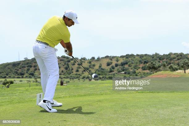 Julian Suri of the United States tees off on the 2nd hole during day three of the Open de Portugal at Morgado Golf Resort on May 13 2017 in Portimao...