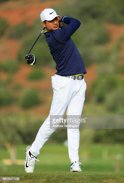 Julian Suri of the United States tees off on the 9th hole during day three of the Open de Portugal at Morgado Golf Resort on May 13 2017 in Portimao...