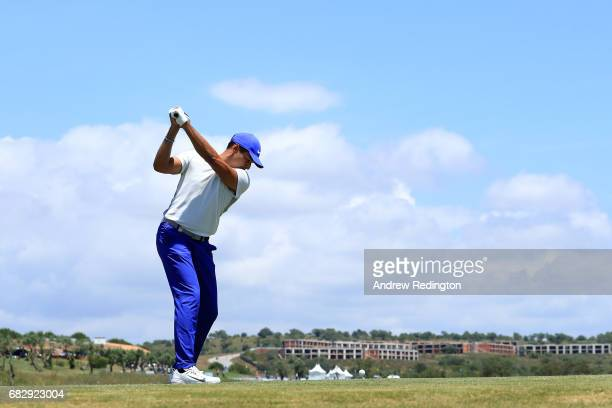 Julian Suri of the United States tees off on the 9th hole during the final round on day four of the Open de Portugal at Morgado Golf Resort on May 14...