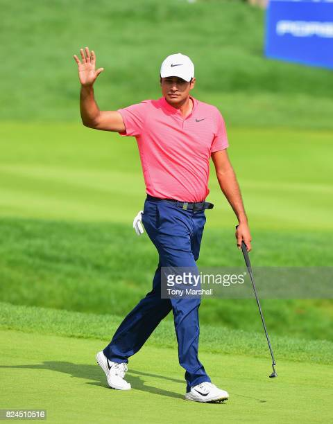 Julian Suri of the United States walks on to the 18th green during the Porsche European Open Day Four at Green Eagle Golf Course on July 30 2017 in...