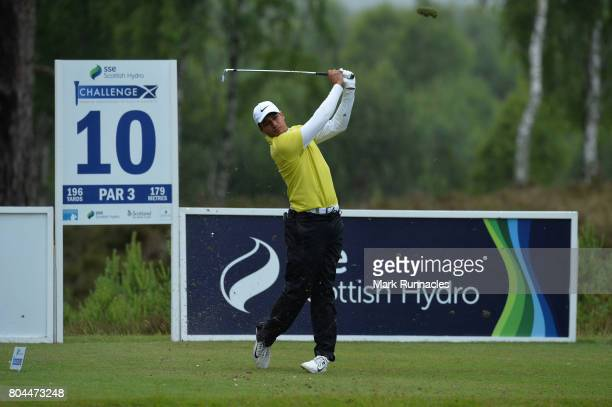 Julian Suri of USA plays his tee shot to the 10th hole during the second day of the 2017 SSE Scottish Hydro Challenge hosted by MacDonald Hotels and...