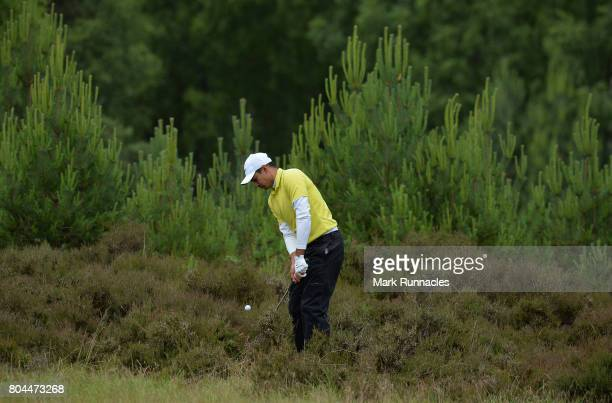 Julian Suri of USA plays his third shot to the 9th hole from deep rough during the second day of the 2017 SSE Scottish Hydro Challenge hosted by...