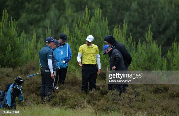 Julian Suri of USA waits for a ruling on his ball at the 9th hole in deep rough during the second day of the 2017 SSE Scottish Hydro Challenge hosted...