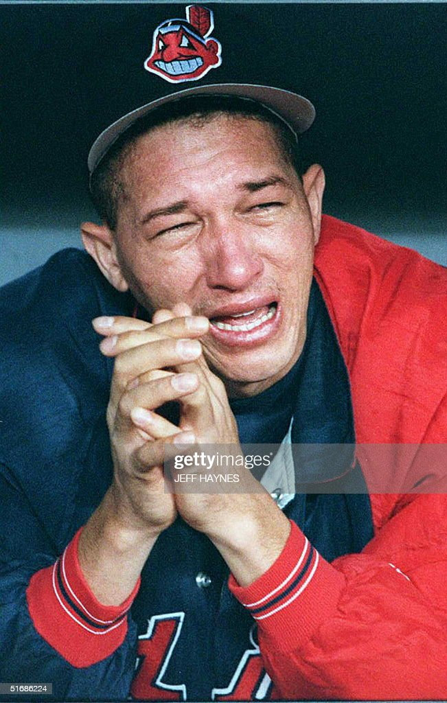 Julian Tavarez cries after the Cleveland Indians loss to the Atlanta Braves in game six of the World Series at Atlanta's Fulton County Stadium 28 October. The Braves won the game 1-0 to win the World Series.