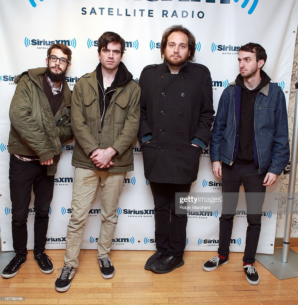Julian Veronesi, Patrick Stickles, Adam Reich and Liam Betson of Titus Andronicus visit the SiriusXM Studios on December 6, 2012 in New York City.
