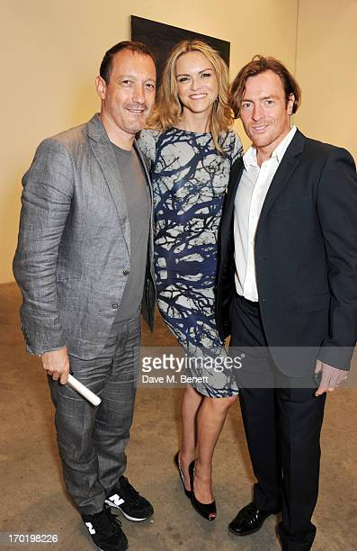Julian Vogel AnnaLouise Plowman and Toby Stephens attend the Bottletop/Full Circle 2013 Summer Party at Victoria Miro Gallery on June 7 2013 in...